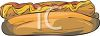 picture of a hot dog on a bun with ketchup and mustard in a vector clip art illustration clipart