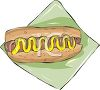 picture of a hot dog with mustard in a bun with a knapkin in a vector clip art illustration clipart
