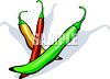 picture of bright colored chili's on a white background with shadows in a vector clip art illustration clipart