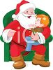 picture of a cartoon Santa Sitting in a green chair with a young boy on his lap in a vector clip art illustration clipart