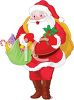 picture of a cartoon santa claus with bags of Christmas gifts in a vector clip art illustration clipart
