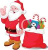 picture of a cartoon santa with his thumb up smiling and standing by a bag of toys in a vector clip art illustration clipart
