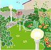 A clipart image of a garden with flowers and a lawn. clipart