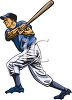 A clip art image of a man playing baseball. clipart
