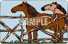 picture of two horses standing in a fenced area in a vector clip art illustration clipart