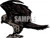 picture of a hawk standing on a perch in a vector clip art illustration clipart
