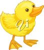 picture of a duckling on a white background in a vector clip art illustration clipart