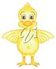 picture of a cartoon duck with his wings out in a vector clip art illustration clipart