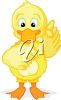 picture of a baby chick pointing with it's wing in a vector clip art illustration clipart