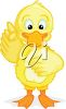 picture of a baby chick with a wing up cartoon in a vector clip art illustration clipart