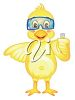 picture of a cartoon duck wearing goggles in a vector clip art illustration clipart