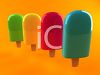four bright colored popsicles on an orange background in a vector clip art illustration clipart