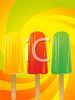 picture of three different flavored popsicles on a bright swirly background in a vector clip art illustration clipart