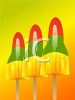 picture of three rocket popsicles on an orange and green background in a vector clip art illustration clipart
