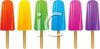 picture of a row of colorful flavored popsicles in a vector clip art illustration clipart
