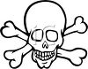 picture of a cartoon skull with crossbones in a vector clip art illustration clipart