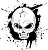 picture of a scary cracked skull on a splattered black background in a vector clip art illustration clipart