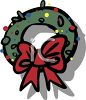 picture of a cartoon Christmas wreath with a red bow in a vector clip art illustration clipart