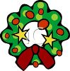 picture of a cartoon Christmas wreath with decorations in a vector clip art illustration clipart