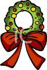 picture of a Holiday wreath with a red bow in a vector clip art illustration clipart