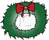 picture of a green christmas wreath with red decorations and a red bow in a vector clip art illustration clipart