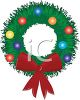 picture of a Holiday wreath with baubles and a red bow in a vector clip art illustration clipart