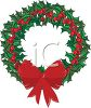 picture of a Christmas wreath decorated with berries and a red bow in a vector clip art illustration clipart