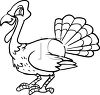 picture of a cartoon turkey in black and white in a vector clip art illustration clipart