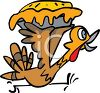 picture of a cartoon turkey running frantically holding a stolen pie in a vector clip art illustration clipart