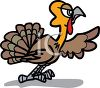 picture of a turkey leaning forward and pointing on a white background in a vector clip art illustration clipart