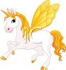 picture of a white unicorn with yellow wings, tail, horn,  and mane in a vector clip art illustration clipart