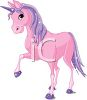 picture of a pink unicorn with purple hooves, horn, mane, and tale in a vector clip art illustration clipart