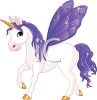 picture of a white unicorn with purple wings, mane, and tail in a vector clip art illustration clipart