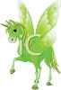 picture of a green unicorn with a green horn, wings, mane, tail, and hooves in a vector clip art illustration clipart