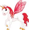 picture of a white unicorn with red wings, mane, and tail in a vector clip art illustration clipart