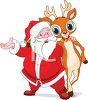 picture of a cartoon santa with his arm around one of his reindeer in a vector clip art illustration clipart