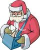 picture of a cartoon santa holding a bag of letters in a vector clip art illustration clipart