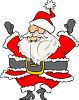 picture of a cartoon santa dancing with his eyes covered by his hat in a vector clip art illustration clipart