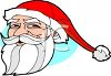 picture of a cartoon santa face on a blue background in a vector clip art illustration clipart
