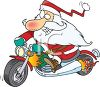 picture of a cartoon santa claus riding a motorcycle in a vector clip art illustration clipart