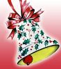 picture of a christmas bell decorated with holly and red ribbons in a vector clip art illustration clipart