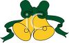 picture of yellow holiday bells with a green bow and ribbons in a vector clip art illustration clipart