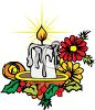 picture of a burning christmas candle with decorations in a vector clip art illustration clipart