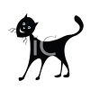 picture of a sihouette of a standing happy black cat on a white background in a vector clip art illustration clipart