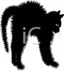 picture of a scared cat with his fur standing up in a vector clip art illustration clipart