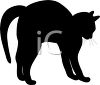 picture of a silhouette of a black cat frightened with his back arched in a vector clip art illustration clipart