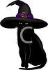 picture of a black cat wearing a witch's hat sitting down in a vector clip art illustration clipart