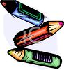 picture of three coloured crayons on a white backgound in a vector clip art illustration clipart