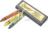 picture of three coloured crayons and a crayon box in a vector clip art illustration clipart