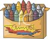 picture of a box of colourful crayons in a vector clip art illustration clipart